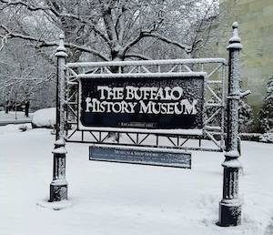 The Buffalo History Sign in Winter