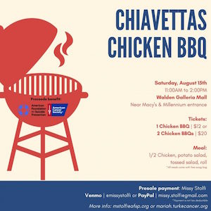 Chiavetta's Chicken Barbeque Fundraiser, Walden Gallleria Mall, American Cancer Society, American Foundation of Suicide Prevention